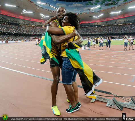 Usain Bolt celebrating with his proud mother after winning Men's 100M in 9.79 at 2015 IAAF World Championships. #Jaminate #TeamJamaica #Beijing2015 #WorldChamps