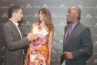Jason Lindsay, left, FashionTT chairman, speaks with Neysha Soodeen, chairman of CreativeTT and Norris Herbert, acting Permanent Secretary in the Ministry of Trade at the launch of the strategic plan for the local fashion industry, Hyatt Regency, Port-of-Spain. PHOTO: SEAN NERO