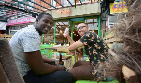 Owners Ez Saunders and Jimmy Gill at The Drop in Chorlton