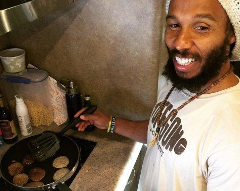 Ziggy Marley cooking up a hurricane.