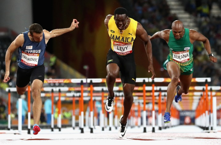 Ronald Levy secured Jamaica's first gold medal of Gold Coast 2018 by winning the men's 110m hurdles event